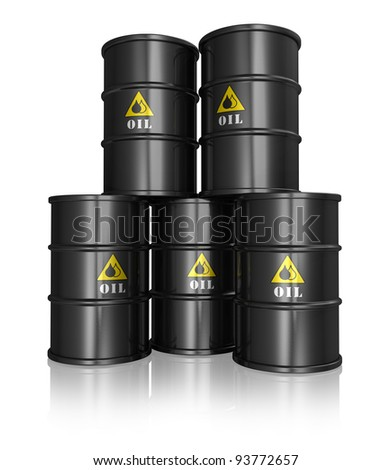 Group of black metal oil barrels isolated on white reflective background