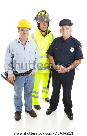 Group Of BLUE COLLAR WORKERs, Construction Worker, Policeman, And ...