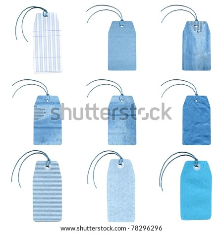 Group of blue colour tags labels isolated over white background