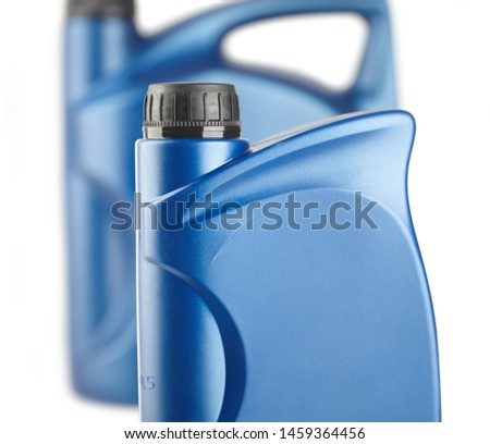 group of blue plastic canister for lubricants without label, container for chemistry close-up #1459364456