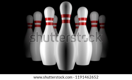 Group of bowling ninepins - Shutterstock ID 1191462652