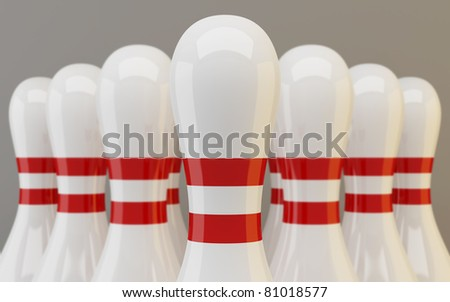 Group of bowling pins closeup on gray background