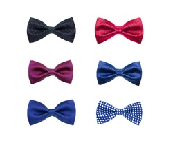 group of bowties on white