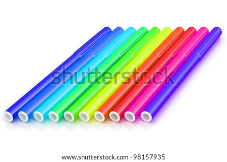 Group of bright color markers on white background - stock photo