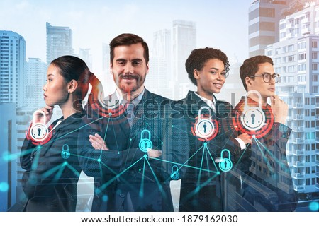 Group of business colleagues as a part of multinational corporate team working on project to protect clients information at cybersecurity compliance division. IT lock icons over Bangkok