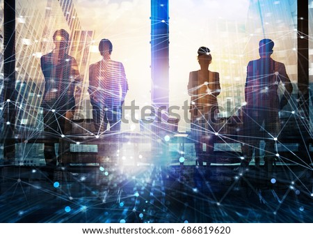 Group of business partner looking for the future with network digital effect #686819620