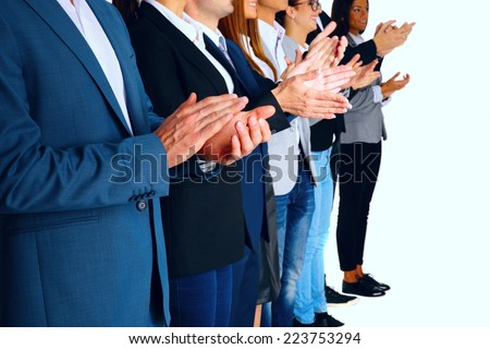 Group of business partners applauding