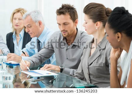 Group Of Business People Are Focused On The Job stock photo