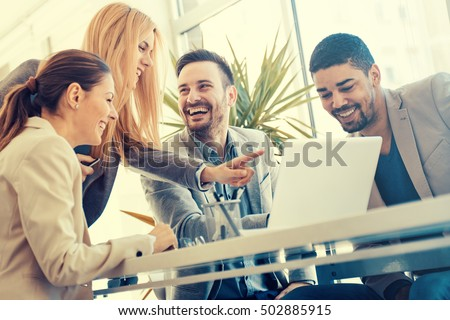 Group of business people.Business people sharing their ideas. - Shutterstock ID 502885915