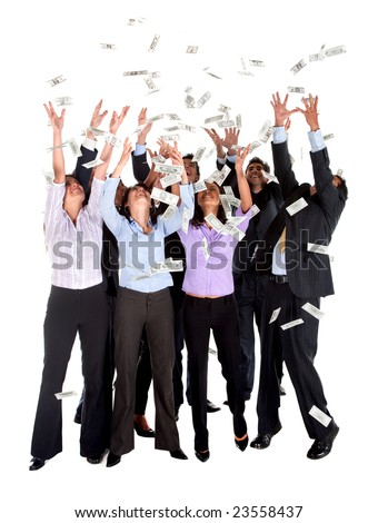 Group of business people catching dollars under money rain - isolated