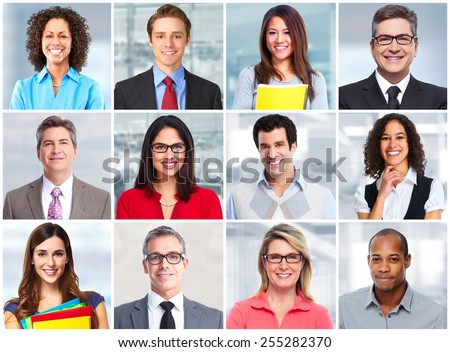 Group of business people face team collage.