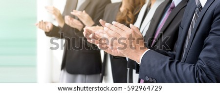Group of business people giving an applause in the meeting, panoramic banner