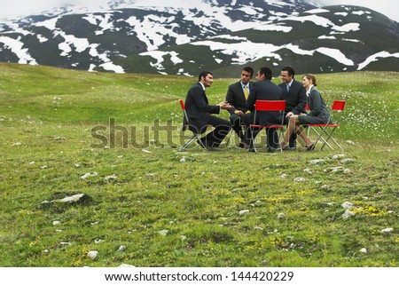 Group of business people having conference in mountain field