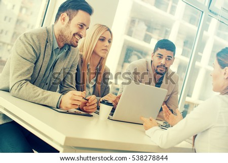 Group of business people having job interview.They are communicating with female candidate. #538278844