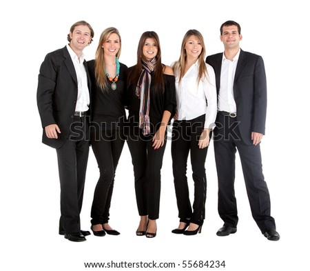 Group of business people isolated over a white background