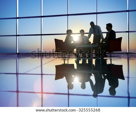 Group of Business People Meeting in Back Lit Concept #325555268