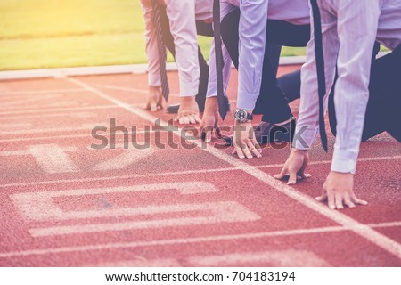 group of business people ready to start the race in track. business challenge concept. Photo stock ©