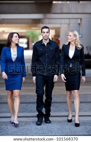 Group of Business People Smiling and and walking