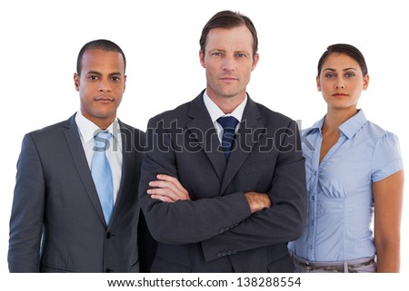 Group of business people standing together on white background