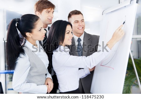 Group of business people team looking draw chart on white board, businesspeople presentation woman explaining graph diagram on whiteboard to colleagues in office