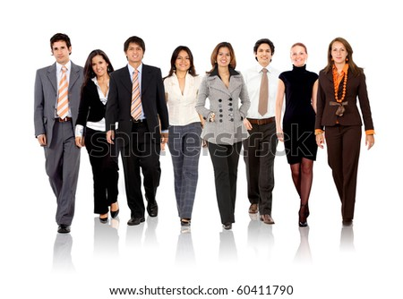 Group of business people walking - isolated over a white background