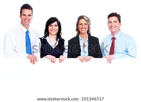 Group of business people with banner. Isolated on white background.