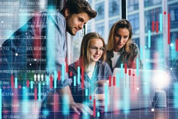 Group of business people working at modern office.Technical price graph, red and blue candlestick chart and stock trading computer screen background. Double exposure. Traders analyzing data