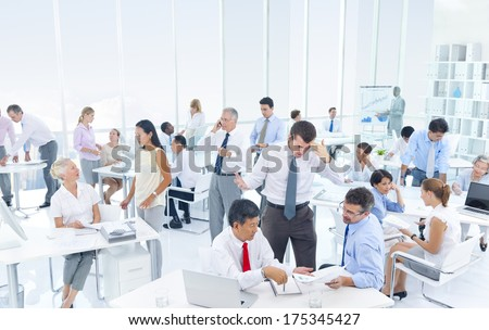 Group Of Business People Working Hard In An Office