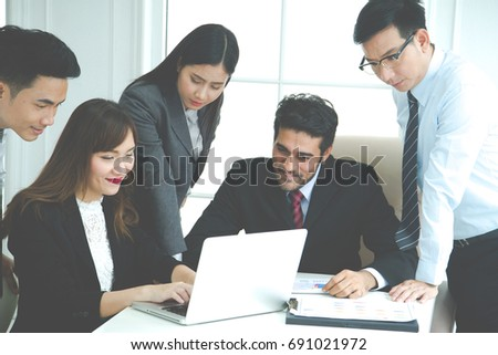 Group of business people working together and brainstorming in the office, Business Corporate People Working Concept #691021972