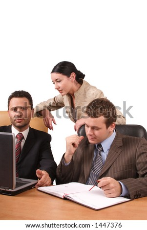 Group of 3 business people working together in the office - isolated