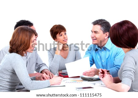 Group of business people. Working with documents. Isolated on white background.