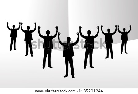 Group of business team raising hands. illustration graphic design