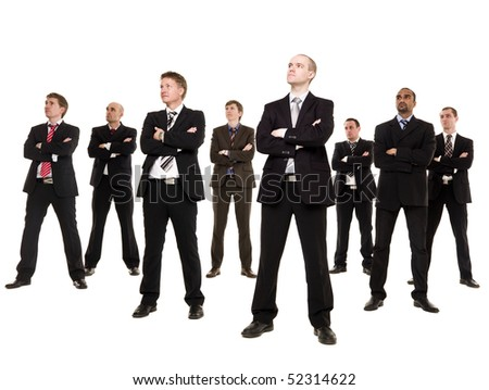 Group of businessmen isolated on white background