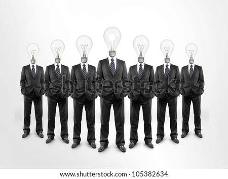 Group of businessmen with bulbs instead of heads