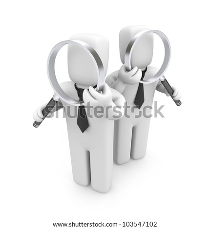 Group of businessmen with magnifying glasses. Audit. Image contain clipping path
