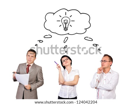 Group of businesspeople dreaming on white background