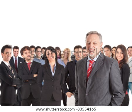 Group of businesspeople. Their leader is on the front