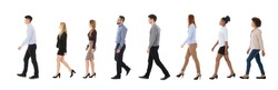 Group Of Businesspeople Walking In A Line Over White Background