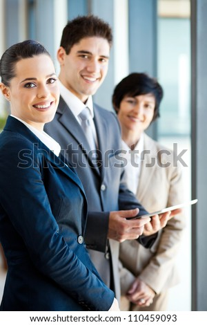group of businesspeople with tablet computer