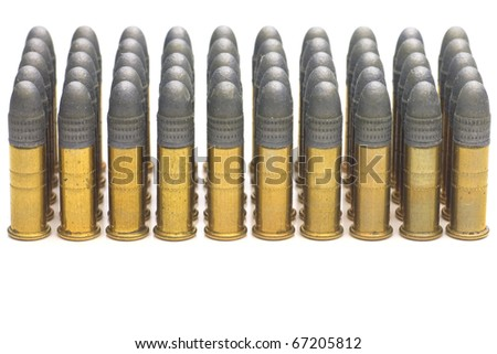 Group of .22 caliber bullets isolated on white