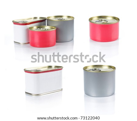 group of can with label ready for new graphic design