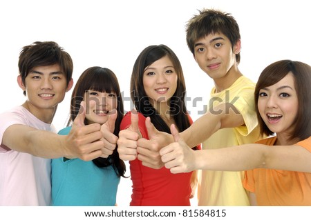 group of casual happy friends laughing and giving the thumbs-up sign.