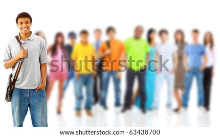 group of casual happy people smiling and standing isolated over a white background