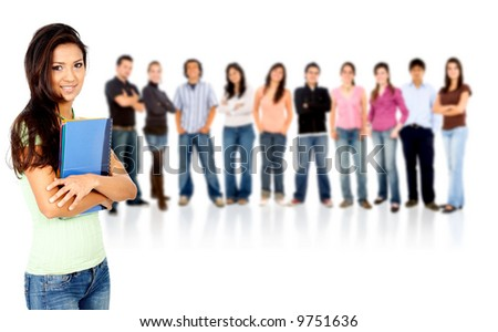 group of casual happy students smiling and standing isolated over a white background