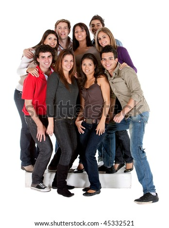 Group of casual people isolated over a white background