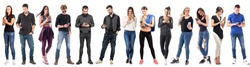 Group of casual people using cell phones full body isolated on white background.