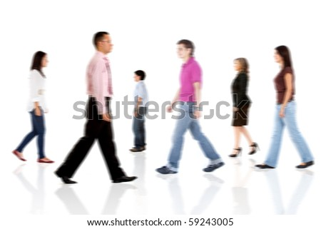 Group of casual people walking - isolated over a white background