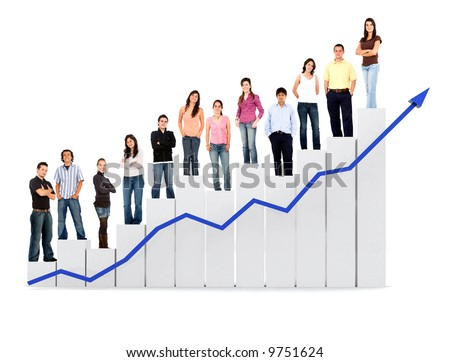 group of casual people with a chart representing growth and success - isolated over a white background