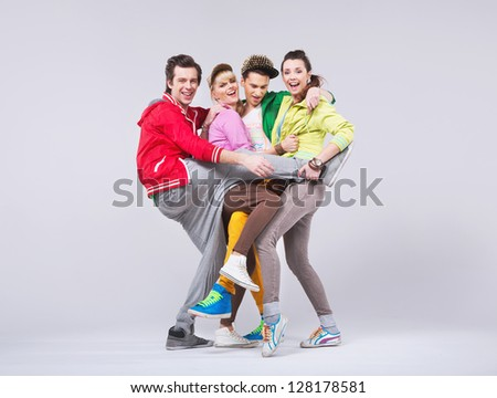 Group of cheerful friends
