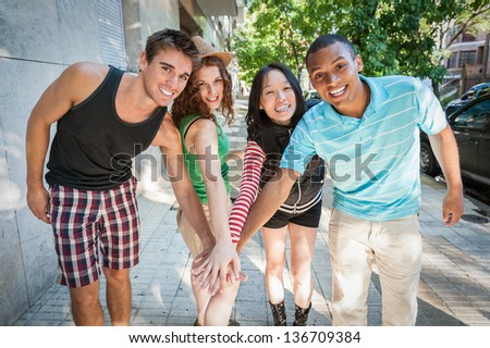 Group of cheerful friends. Multi ethnic.